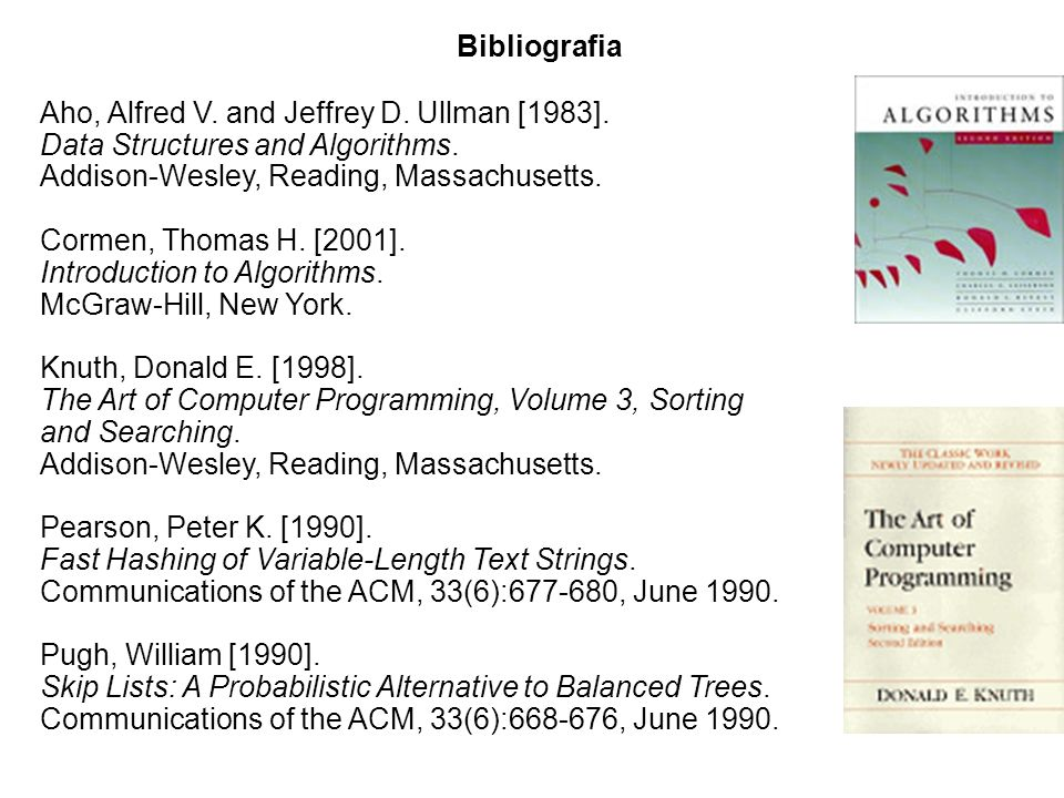 Bibliografia Aho, Alfred V. and Jeffrey D. Ullman [1983]. Data Structures and Algorithms. Addison-Wesley, Reading, Massachusetts.